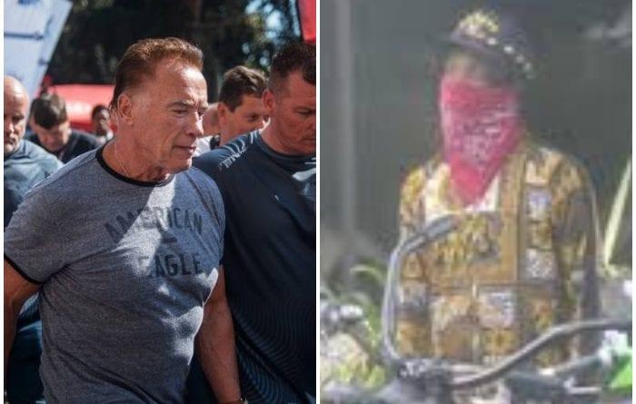 El ex gobernador Schwarzenegger por poco pierde su bicicleta en un gimnasio.