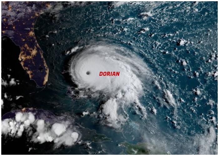 Huracán Dorian es el fenómeno que actualmente está amenazando gravemente varias regiones.