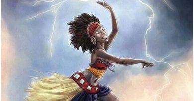 Oyá o Yansa, es la orisha del viento, las centellas y los huracanes.