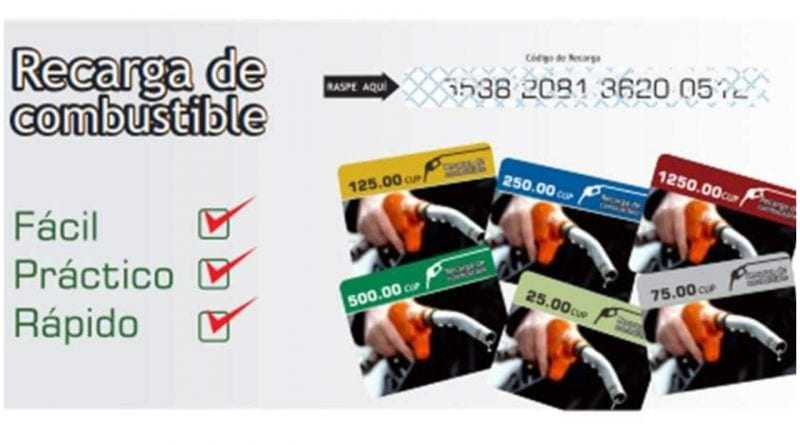 tarjeta desechable combustible
