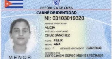 tarjeta identificacion menores Cuba