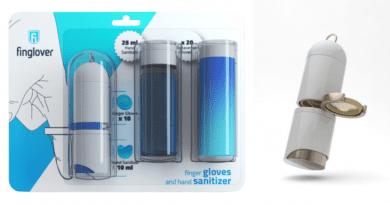 El llavero del futuro tiene gel desinfectante portátil y guantes para dedos