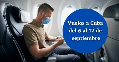 Vuelos programados a Cuba del 6 al 12 de septiembre
